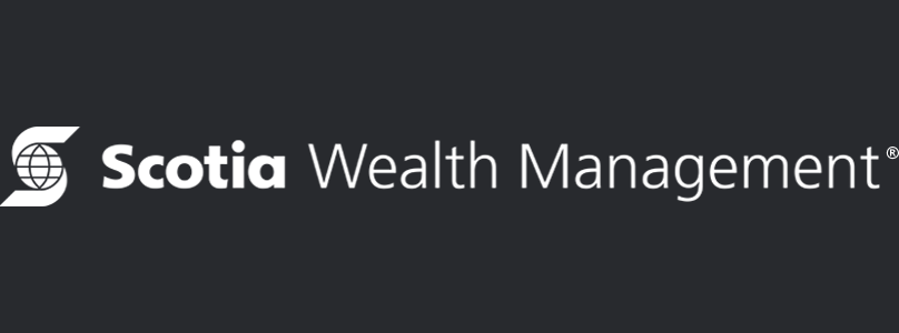White Scotia Wealth Management logo on black background, linking to website