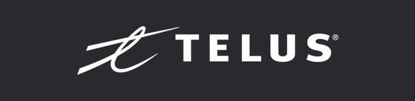 White TELUS logo on black background, linking to website
