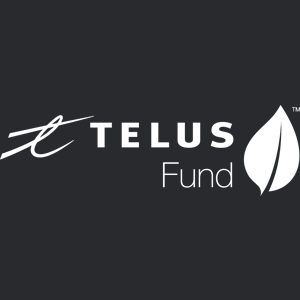 White TELUS Fund logo on black background, linking to website