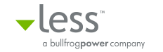 Less (Bullfrog Power) logo on white background, linking to website