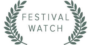 White Festival Watch text with leaves on black background