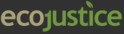 Ecojustice logo on black background, linking to website