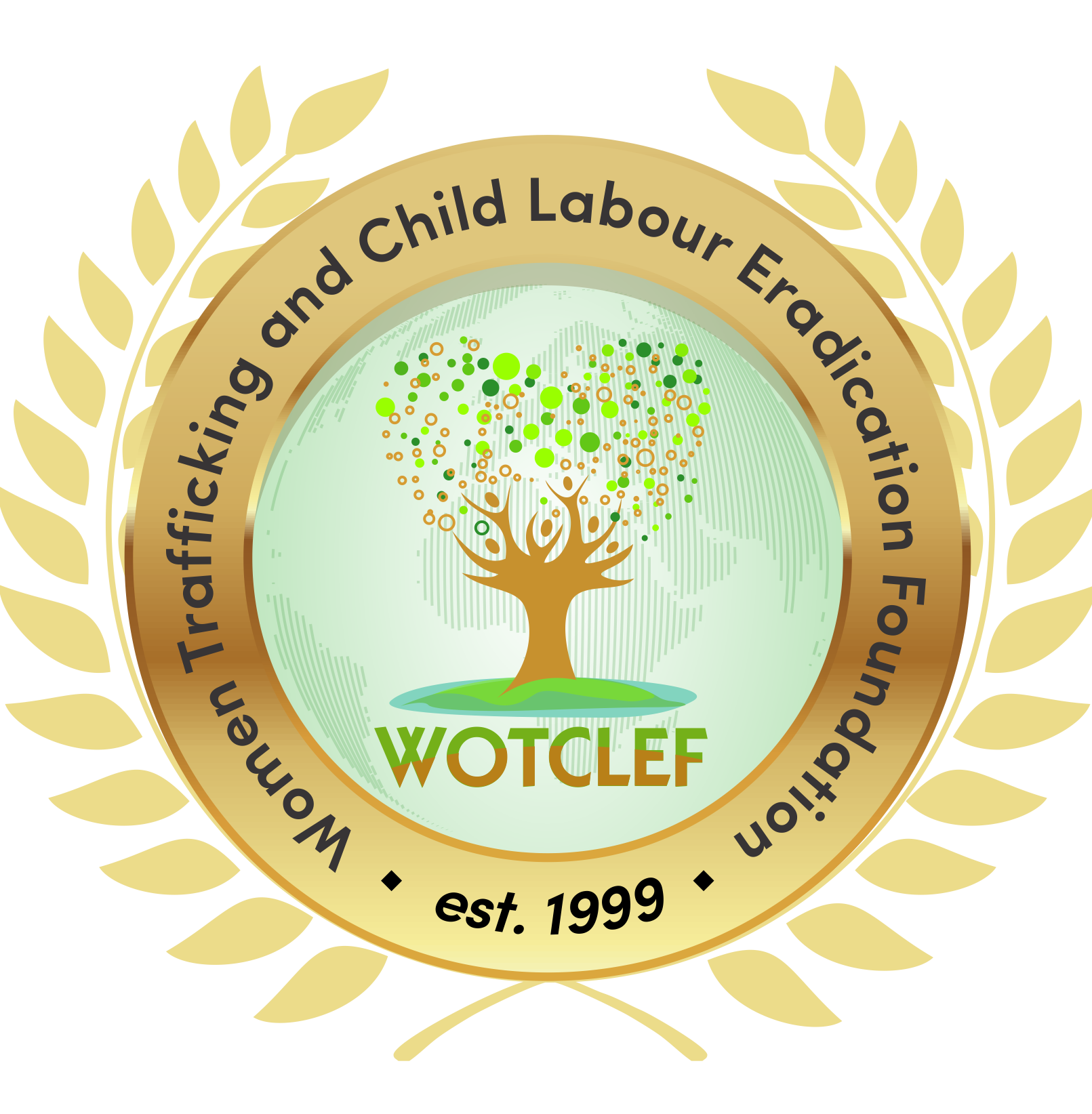 Women Trafficking and Child Labour Eradication Foundation (WOTCLEF) logo on clear background, linking to website