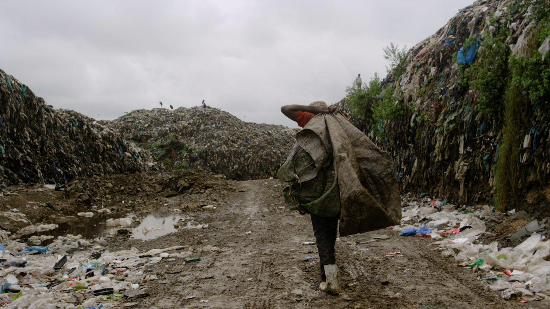 A man walks through the Dandora Landfill in Nairobi, Kenya. A film still from Anthropocene: The Human Epoch