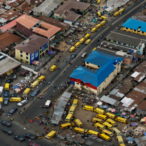 Mushin Market Intersection, Lagos, Nigeria 2016. A detail crop of one of Edward Burtynsky's photographs, from The Anthropocene Project