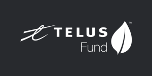 White TELUS Fund logo on black background