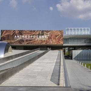 Exterior view of the Anthropocene exhibition at Fondazione MAST in Bologna, Italy